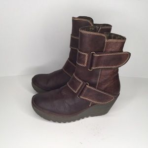 Fly London wedge boots.